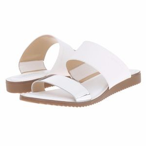 Michael Kors Millie leather silver slides 10